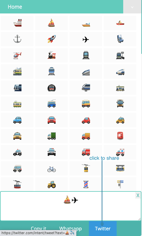 How to Share 🚜 Transport Symbols On Twitter?