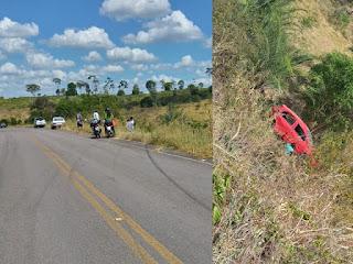 Carro capota em estrada que liga Macajuba e Ruy Barbosa