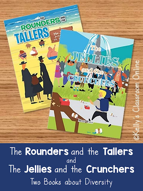 Compare and contrast The Rounders and the Tallers and The Jellies and the Crunchers by children's author Matt Bell.  Diversity. Language arts lesson.