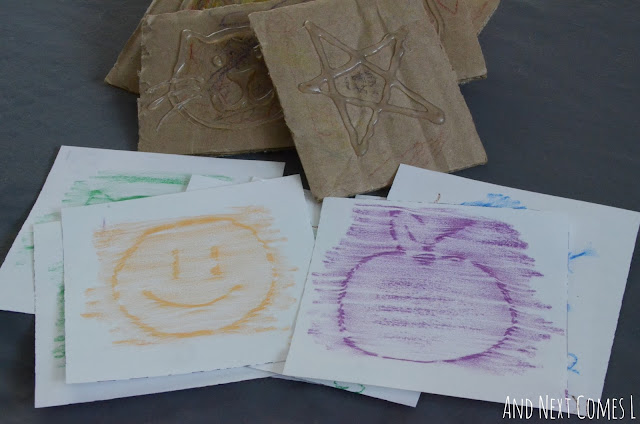 How to make your own crayon rubbing cards for kids from And Next Comes L