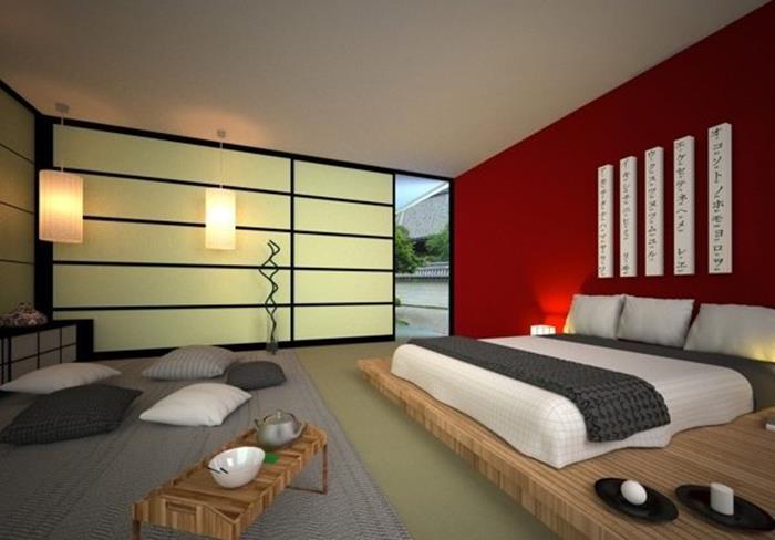 japon tarzı kırmızı yatak odası dizaynı
