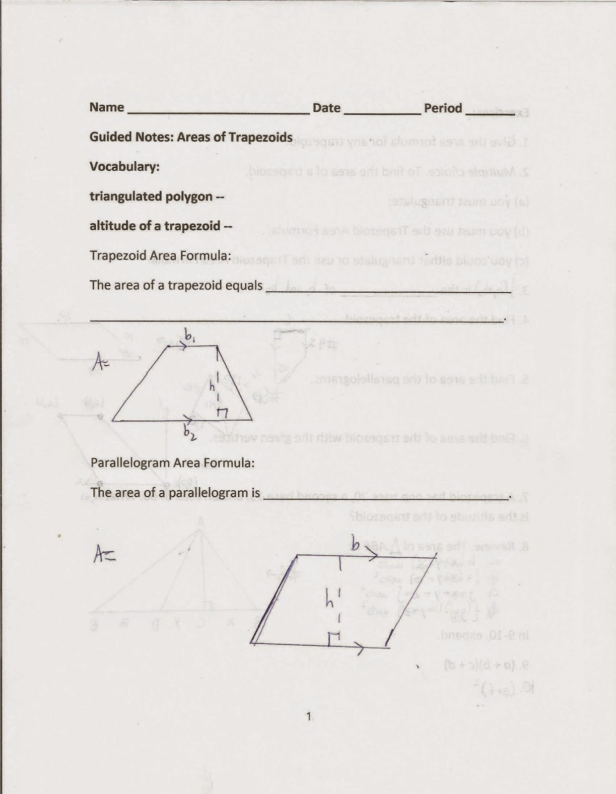 Geometry Common Core Style Lesson 8 6 Areas Of