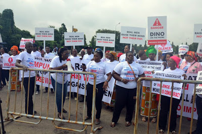 Women protest against Dino Melaye in Abuja