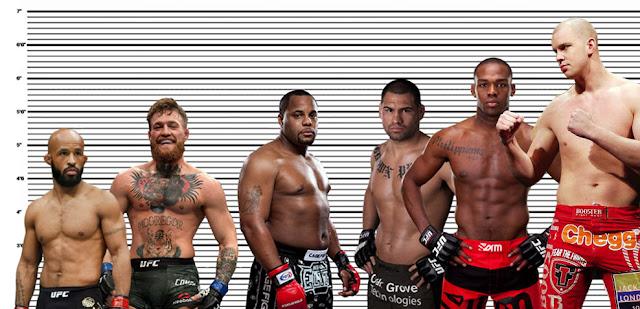 Daniel Cormier height comparison with Demetrious Johnson, Conor Mcgregor, Cain Velasquez, Jon Jones, and Stefan Struve