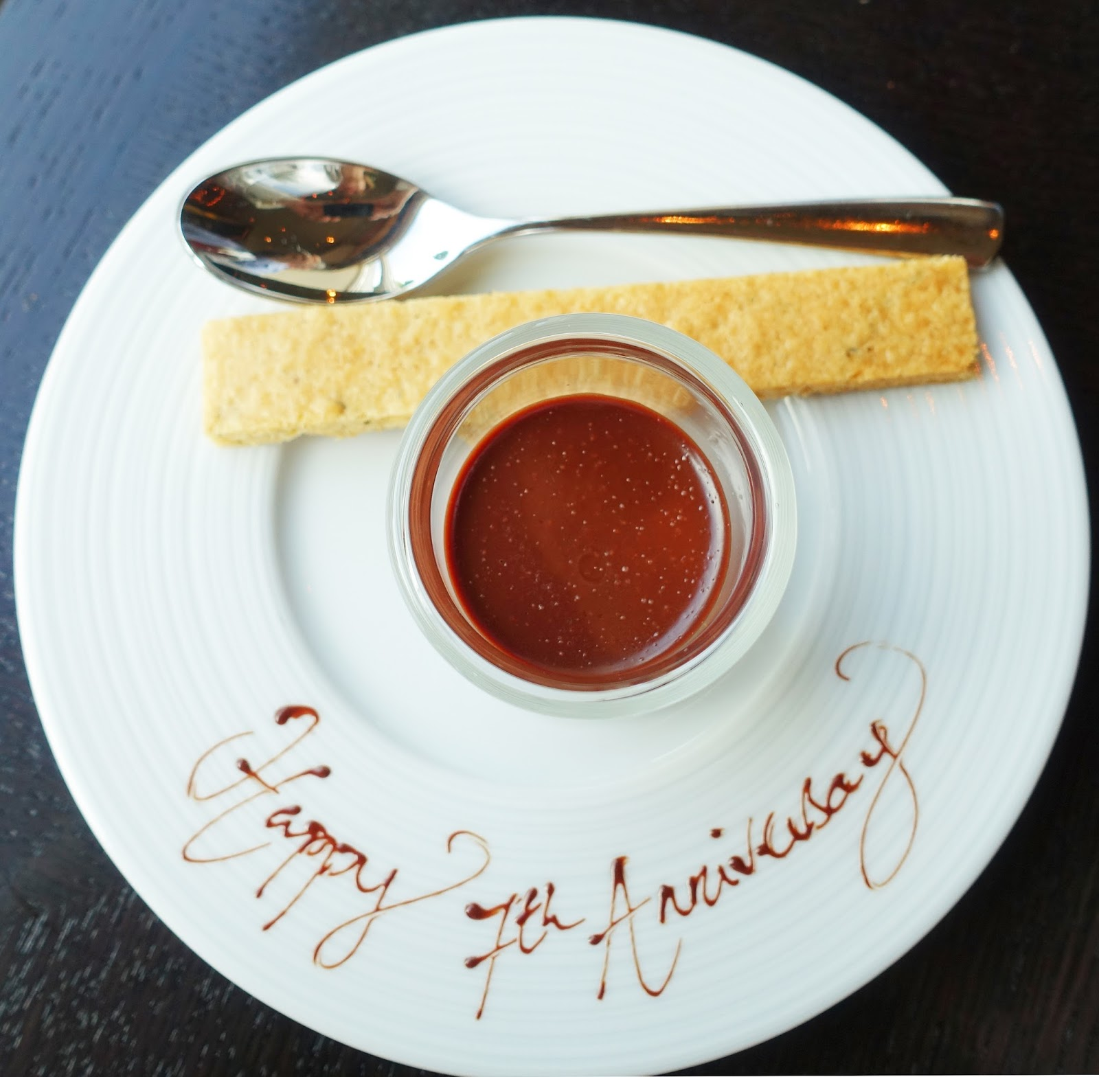 """A nice touch as plates are decorated with """"happy anniversary"""" at Dinner by Heston"""