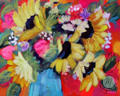 Symphony original mixed media floral painting by Merrill Weber
