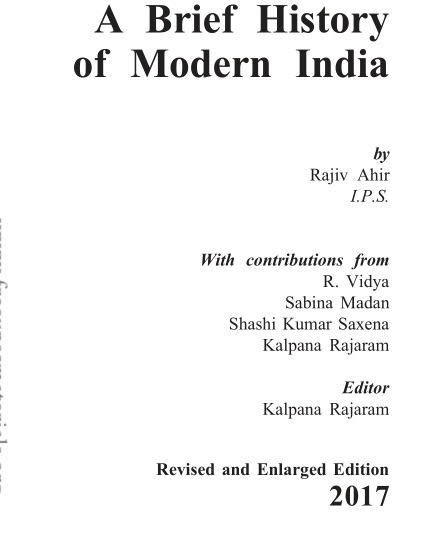 A Brief History of Modern India : all competitive Exams PDF