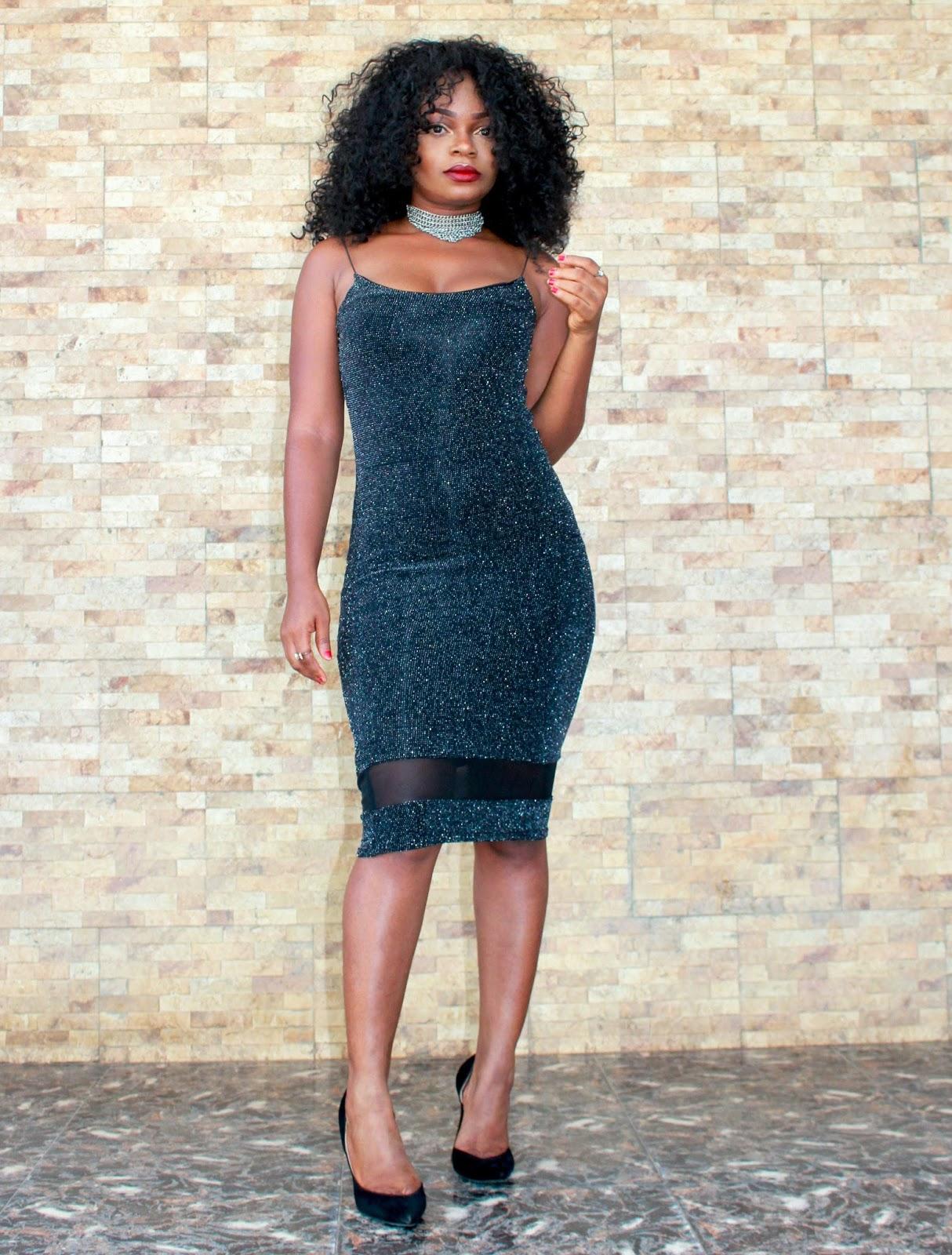 MissRebel Black shimmery dress with Boohoo Black Court shoes