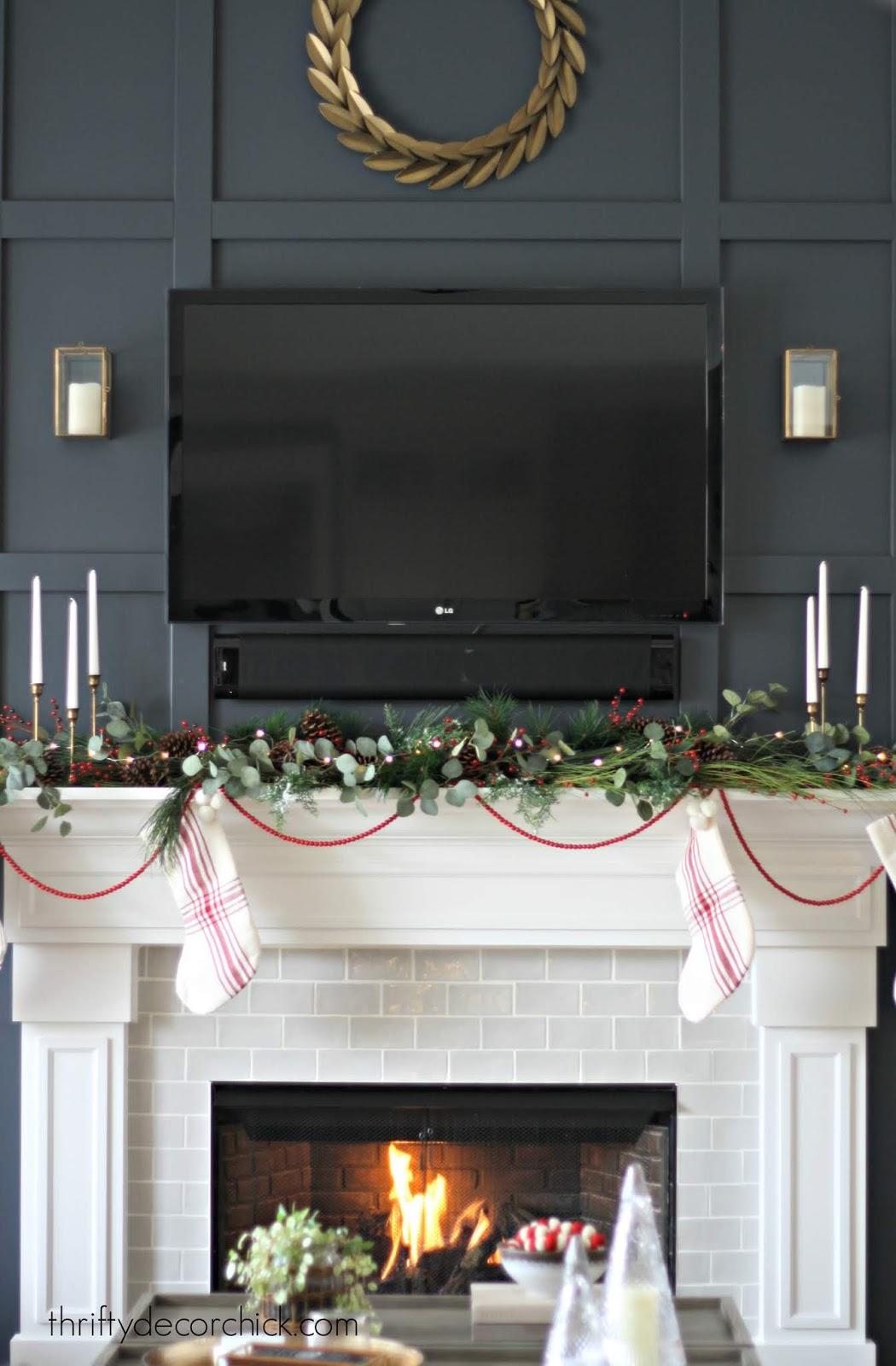 Mantel decorating at Christmas