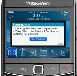 Foursquare for BlackBerry 1.9.5 comes with Push Notifications