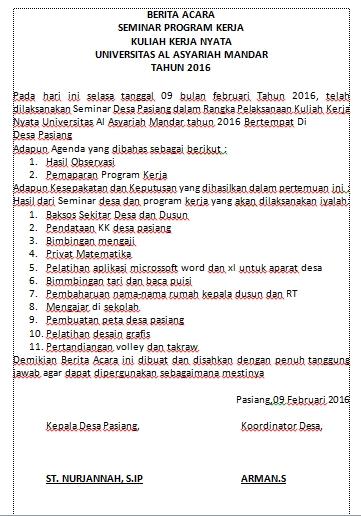 Posko Kkn Pasiang Berita Acara Program Kerja
