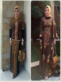 model baju batik pesta muslim modern