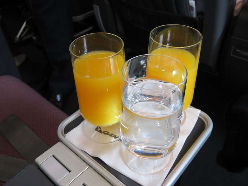 Orange juice on an A380