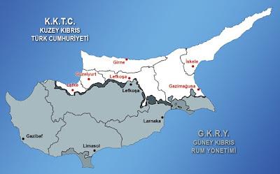 Kıbrıs haritasında illerin (ilçelerin), şehirlerin gösterimi