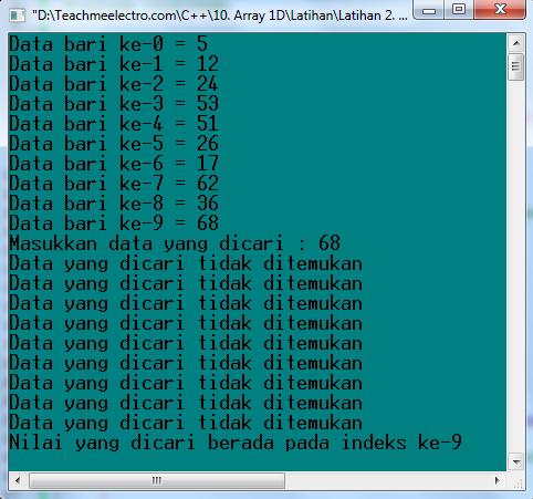 Latihan 2 Mencari data dalam variabel array.