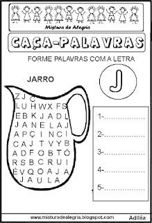 Sequência alfabética caça-palavras alfabetização
