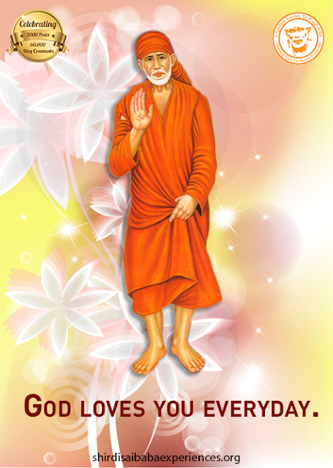 God's Love - Sai Baba Blessing Hand Painting Image