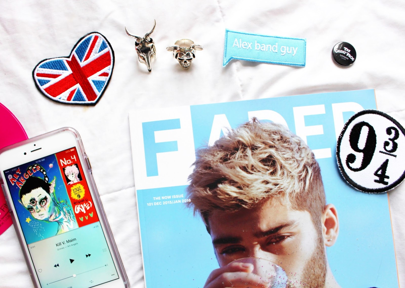 sephora rose sheet mask, zayn malik the fader, grimes art angels, great frog london michael rodent and small kudu rings