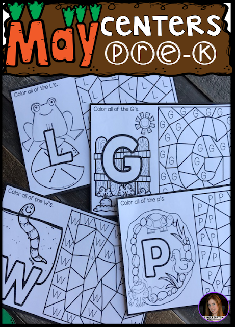 Are you looking for fun hands on centers for your pond, insects and spring themed activities? The Preschool End of the Year Spring Centers for May is sure to keep their interest and will help build important literacy, math and writing (fine-motor) skills. Like this color by letters activity.