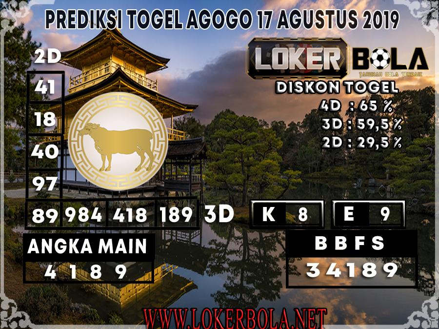 PREDIKSI TOGEL AGOGO LOKERBOLA 17 AGUSTUS 2019
