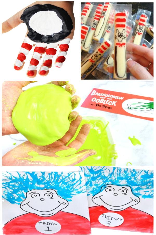 Dr. Seuss themed activities and crafts for kids. #drseuss #drseusscrafts #drseussweek #drseussactivitiesforkids #preschoolactivities #growingajeweledrose