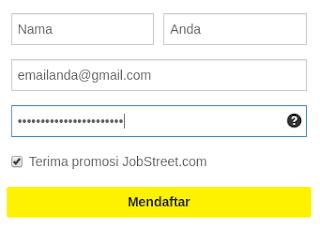 Cara mendaftar situs jobstreet