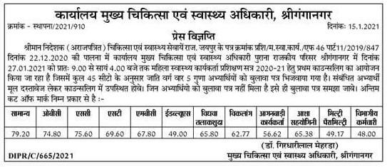 ANM Cut Off 2020-21 Ganganagar