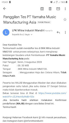 Contoh Panggilan Tes Psikotes BKK SMK Mitra Industri