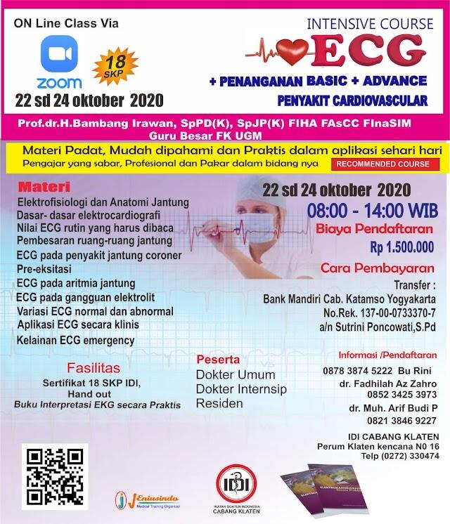 Pelatihan EKG  via Aplikasi ZOOM Bulan Oktober 2020