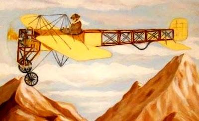 Dibujo de Jorge Chávez volando en su avión a colores