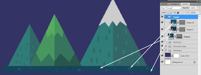 yang mengusung bentuk simple dengan membuang segala bentuk effect gradasi Proses dasar pembuatan Flat design - Membuat Pegunungan