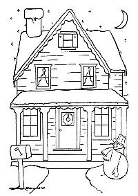 Casa Navidea  Dibujos para Colorear  Dibujos para