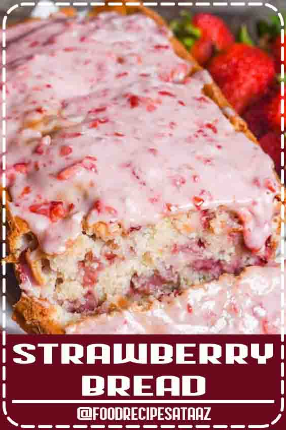 4.7 ★★★★★ | Have fresh garden strawberries? Try this fresh strawberry bread with melt-in-your-mouth strawberry glaze. This quick bread recipe comes together in just 10 minutes. If you love fruit breads, you'll also love our cherry bread! #Fresh #Milk #Recipes #Dessert