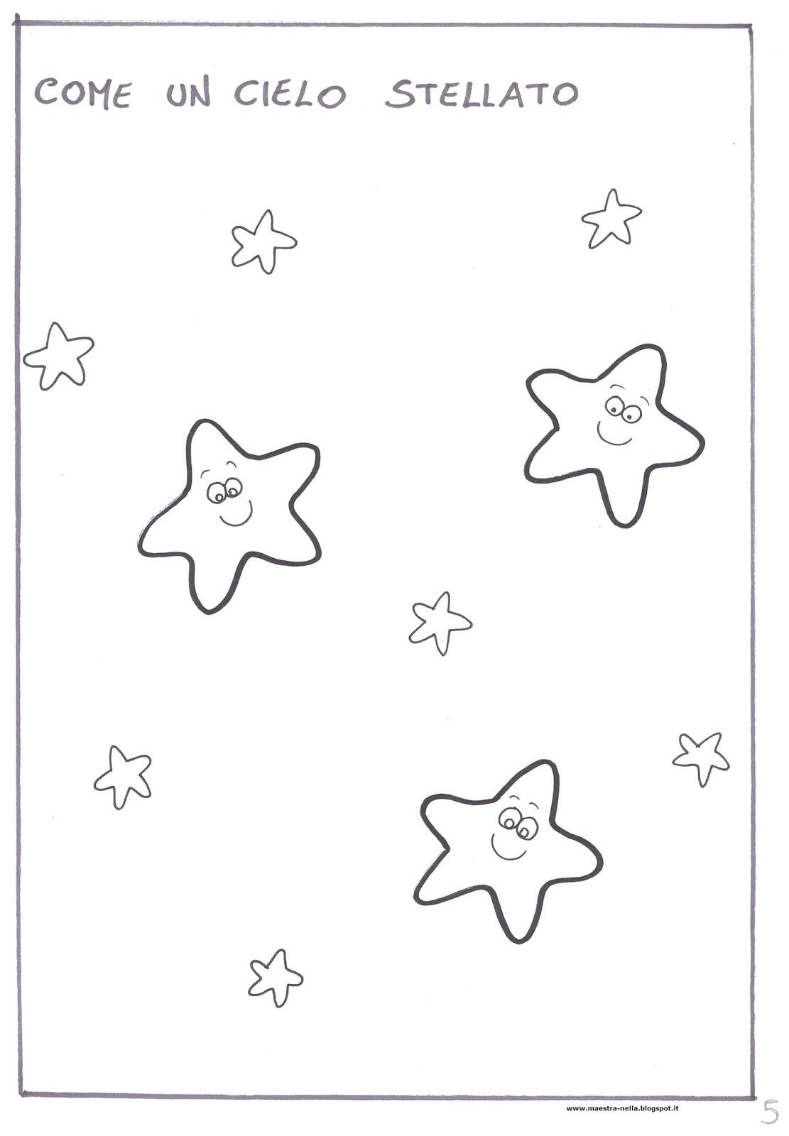Cielo Stellato Da Colorare Per Bambini.Maestra Nella Il Colore Blu