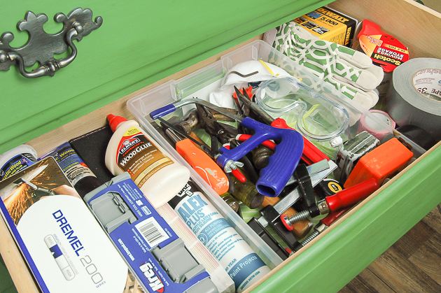 organized tools in dresser drawer