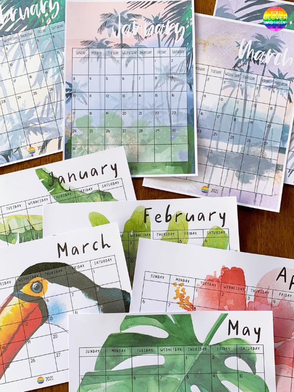 TROPICAL COAST Simple Calendar | you clever monkey