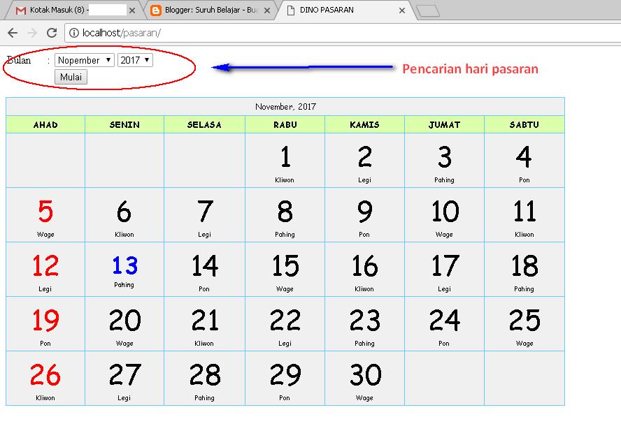 Membuat Kalender Hari Pasaran Jawa Suruh Belajar
