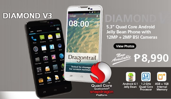 Starmobile Diamond V3 Quad Core Smartphone, with 12MP +2MP BSI