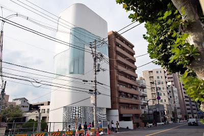 Powerline-covered Yayoi Kusama Museum, Bentencho, Shinjuku-ku, Tokyo, Japan.