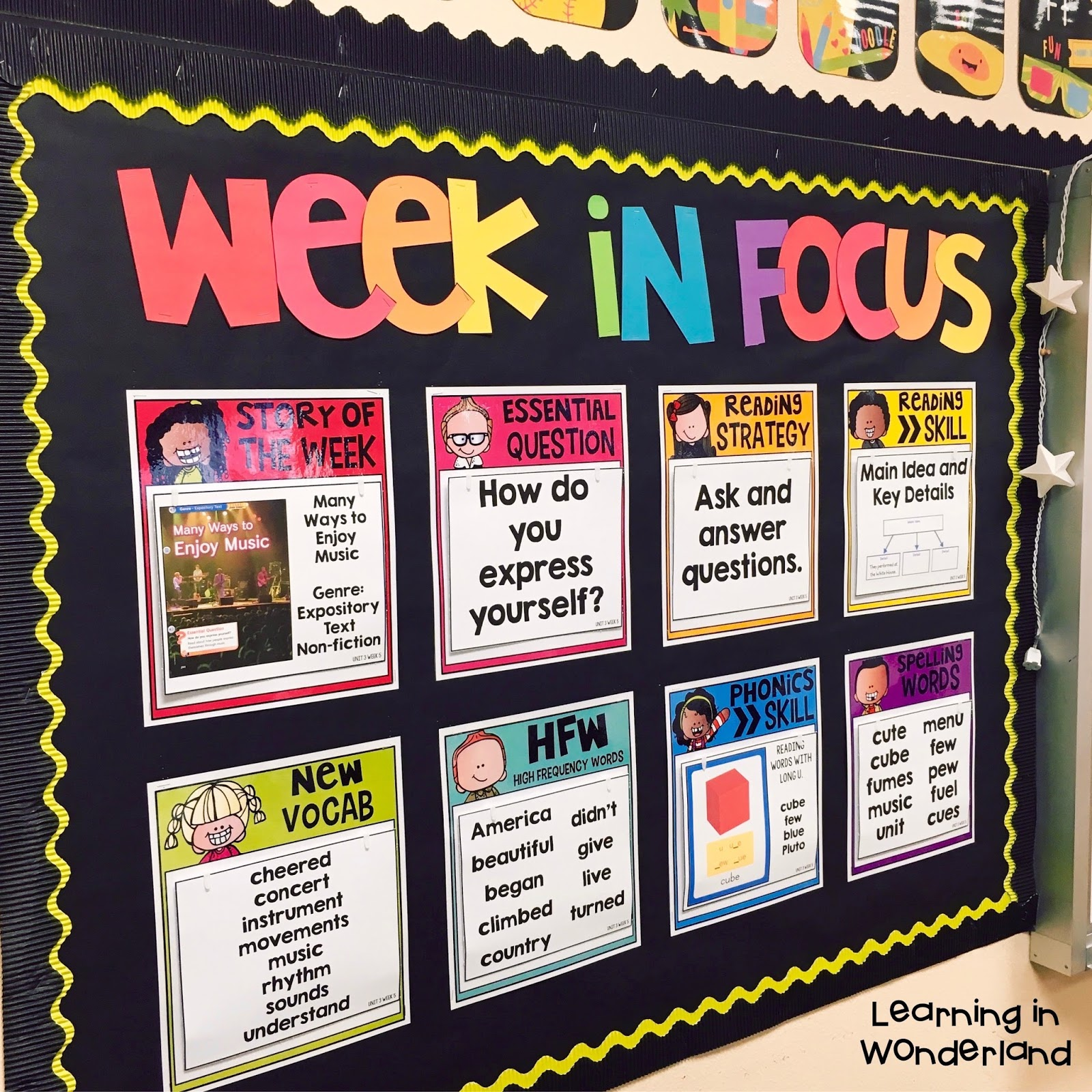 Classroom Notice Board Ideas ~ Easy to maintain focus wall learning in wonderland