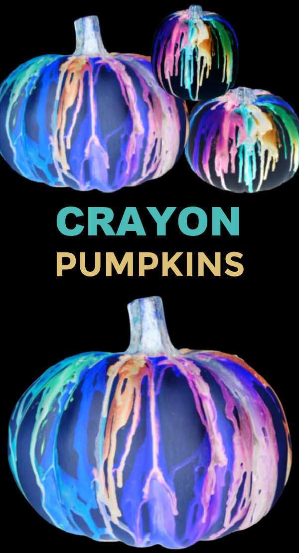 Decorate pumpkins that glow-in-the-dark using crayons and NO CARVING! #halloween #meltedcrayonart #meltedcrayonpumpkin #nocarvepumpkindecorating #growingajeweledrose #activitiesforkids