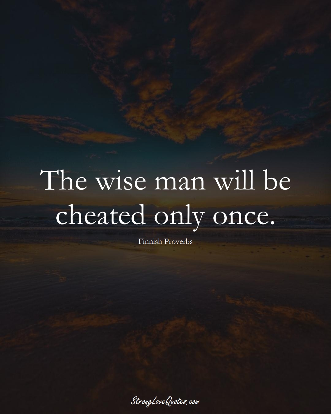 The wise man will be cheated only once. (Finnish Sayings);  #EuropeanSayings