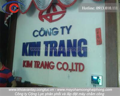 Lắp đặt máy chấm công tại công ty Kim Trang - Quang Trung - Hồng Bàng - Hải Phòng.