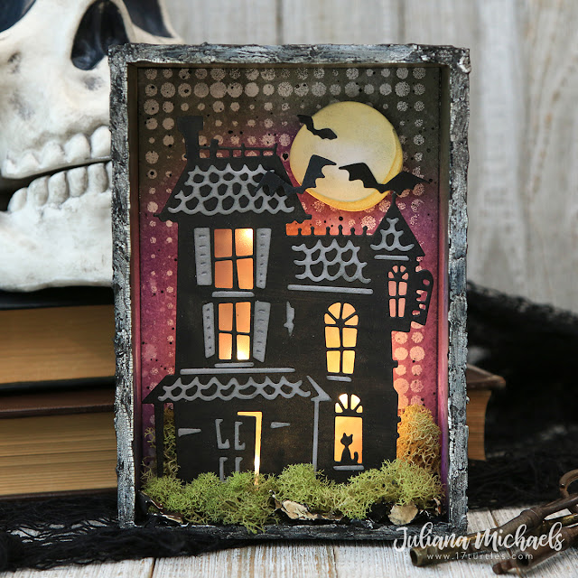 Halloween Haunted House Vignette by Juliana Michaels featuring Tim Holtz Sizzix Haunted Thinlits Die