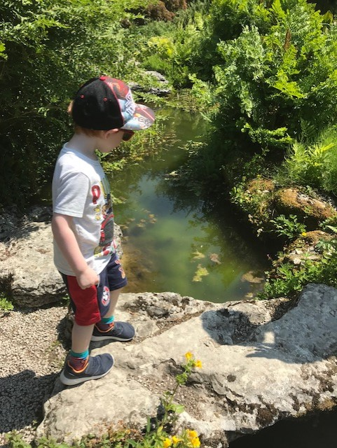 Little boy walking on a rockery path over some water