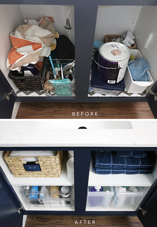 IHeart Organizing Under Bathroom Sink Double Shelving Storage Solution Organization