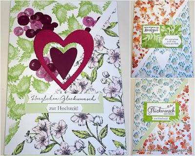 Große Hochzeitskarten mit diagonalem Design Stampin' Up! www.eris-kreativwerkstatt.blogspot.de