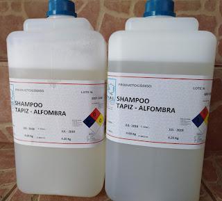producto limpiador para el lavado de alfombras, tapicería de muebles y vehículos