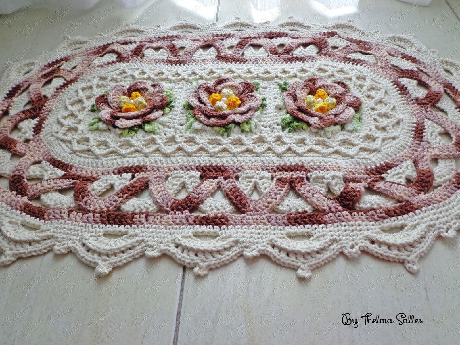 thelma salles artesanatos tapete oval em croch bordado