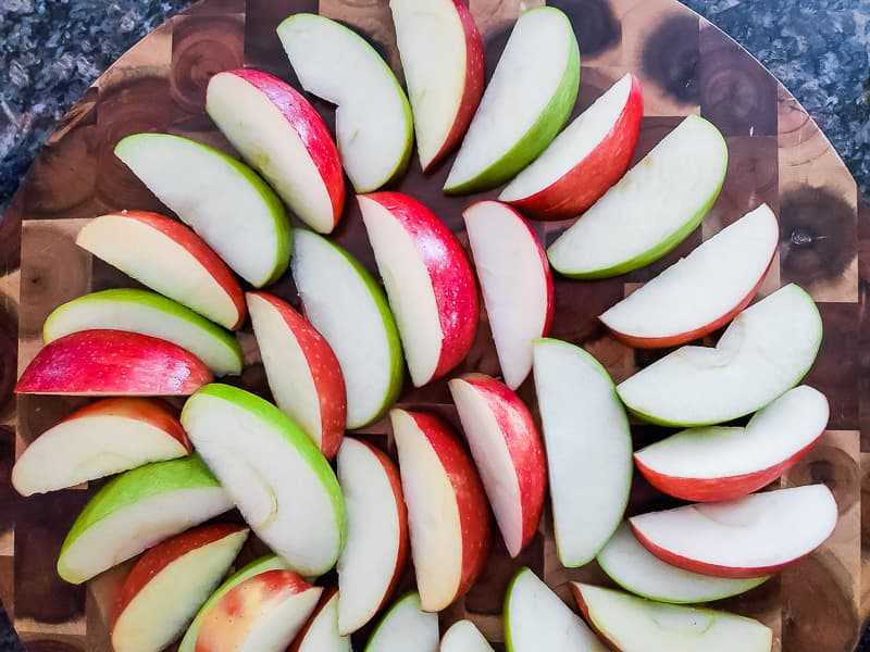 arrange apple slices on platter